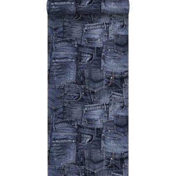 behang spijkerstof donkerblauw