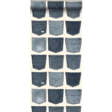 behang spijkerbroeken zakken lichtblauw