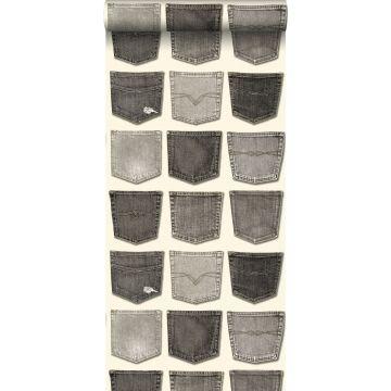 behang spijkerbroeken zakken grijs
