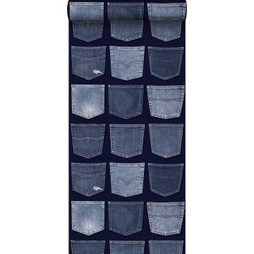 behang spijkerbroeken zakken blauw