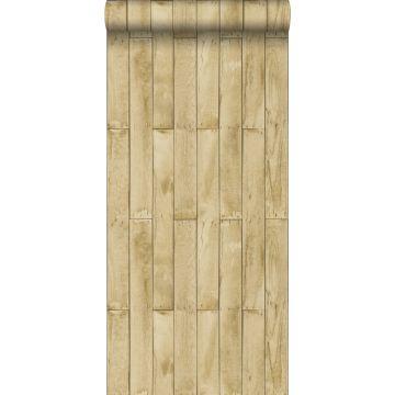 behang houtlook beige en bruin