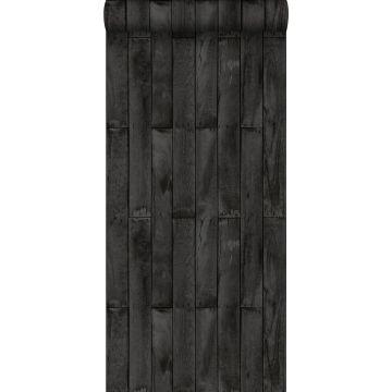 behang houtlook zwart