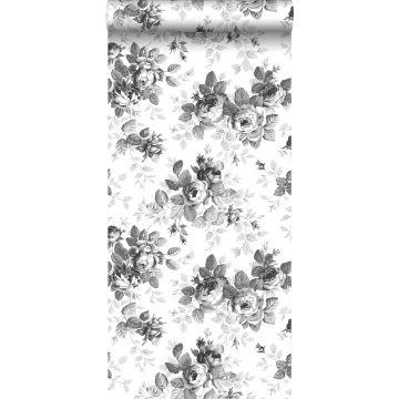 behang rozen zwart en wit