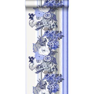 behang vintage bloemen delfts blauw