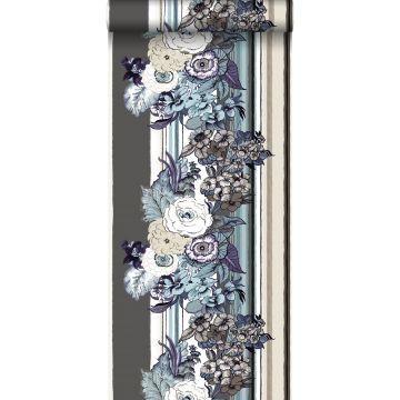 behang vintage bloemen taupe en donker paars