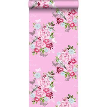 behang bloemen en vogels roze