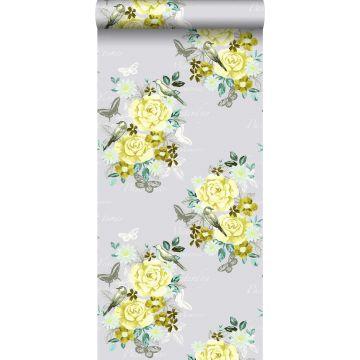 behang bloemen en vogels geel
