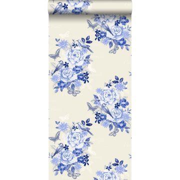 behang bloemen en vogels delfts blauw