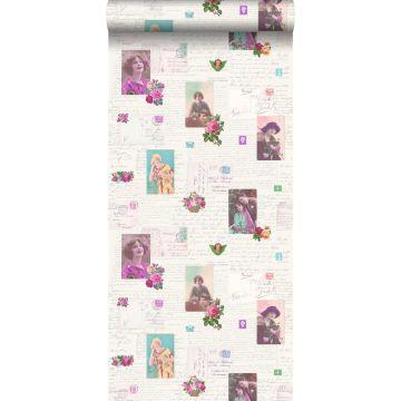 behang vintage ansichtkaarten roze en turquoise