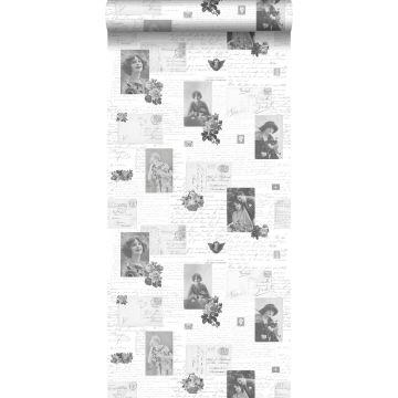 behang vintage ansichtkaarten zwart en wit