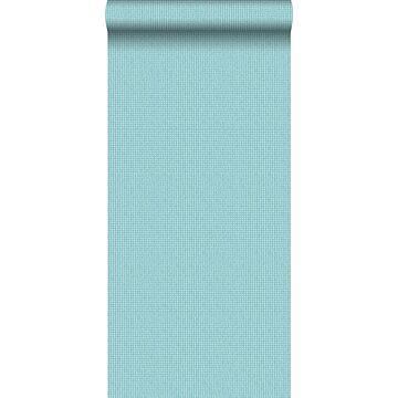 behang geborduurd motief turquoise