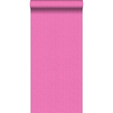 behang geborduurd motief roze