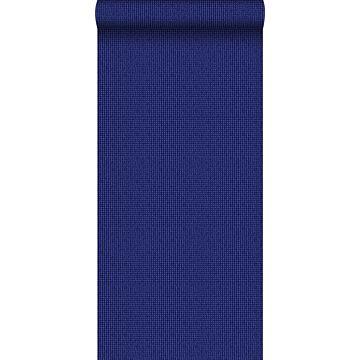 behang geborduurd motief blauw