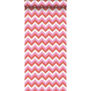 behang zigzag motief koraalrood en roze