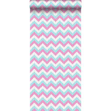 behang zigzag motief turquoise en roze
