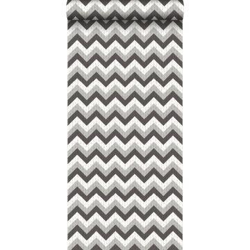 behang zigzag motief zwart en grijs