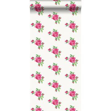 behang geborduurde roosjes roze en groen
