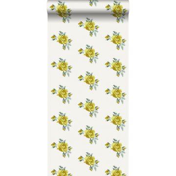 behang geborduurde roosjes geel