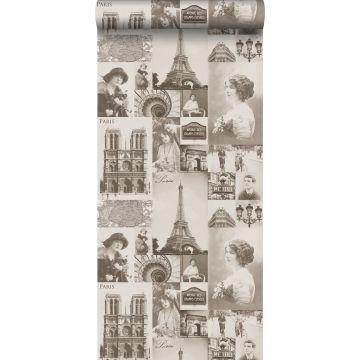behang Parijs sepia bruin