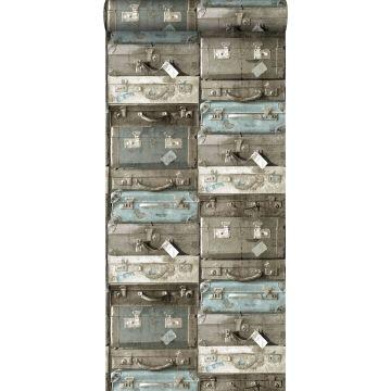 behang vintage koffers zeegroen en bruin