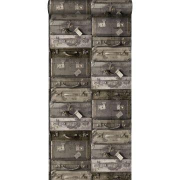 behang vintage koffers donkerbruin