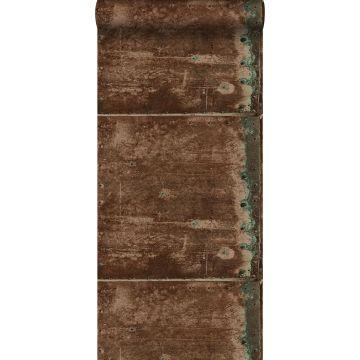 behang metalen platen roest bruin