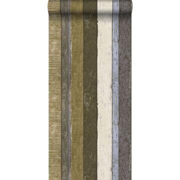 behang houten plankjes bruin en kaki groen