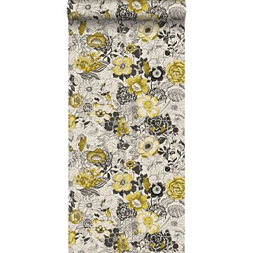 behang bloemen okergeel en beige