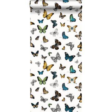behang vlinders okergeel, groen en bruin