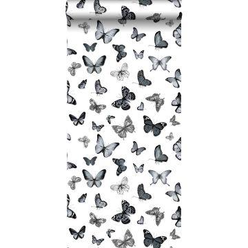 behang vlinders zwart en wit