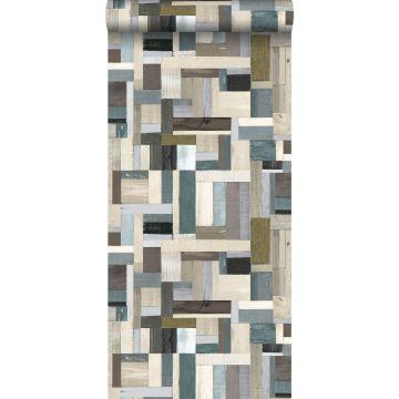 behang sloophout bruin en vergrijsd olijfgroen