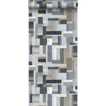 behang sloophout grijs