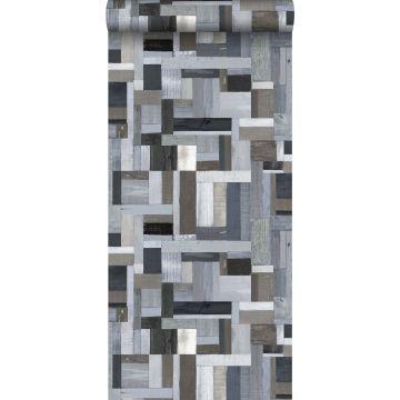 behang sloophout blauw en grijs