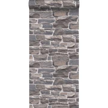 behang stenen muur blauw en grijs