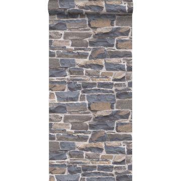 behang stenen muur blauw en bruin