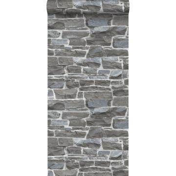 behang stenen muur donkergrijs
