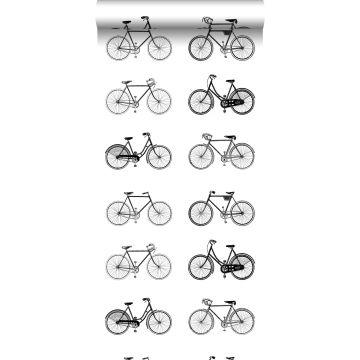 behang fietsen wit en zwart