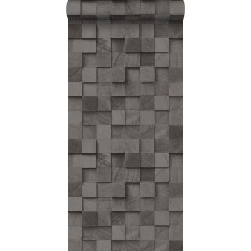 behang 3D-houtmotief zwart