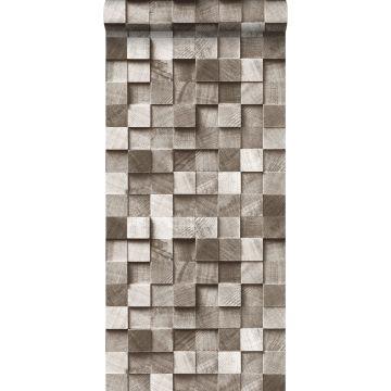 behang 3D-houtmotief bruin