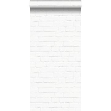 behang bakstenen wit