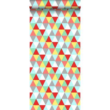 behang driehoekjes rood, geel en blauw