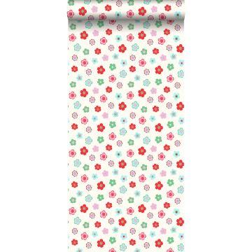 behang vintage bloemetjes lichtblauw, groen en rood