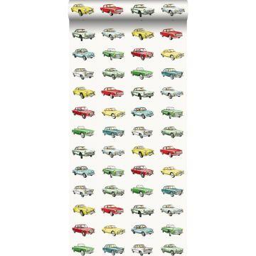 behang vintage auto's rood, geel en groen