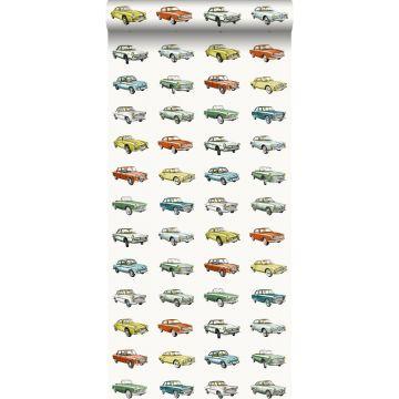behang vintage auto's oranje, okergeel en groen
