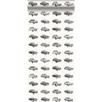 behang vintage auto's zwart