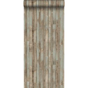 behang sloophout vergrijsd blauw
