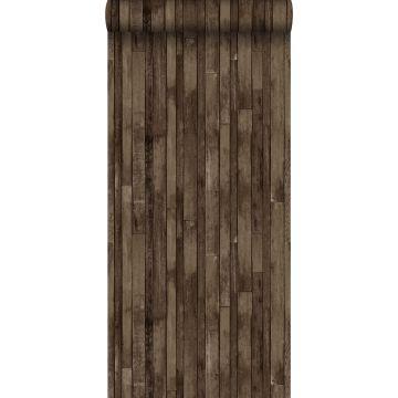 behang sloophout donkerbruin
