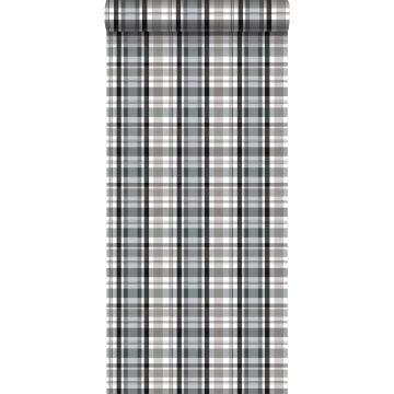 behang ruiten zwart en grijs