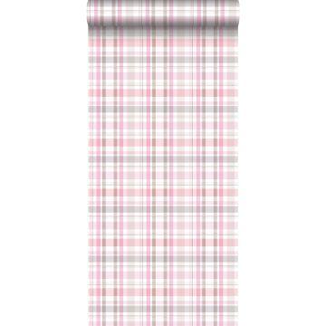behang ruiten licht roze