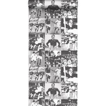 behang sporthelden zwart en wit